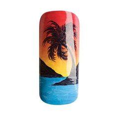 Nail Art How To Sunset and Palm Tree Tropical Nails, Hawaiian nail design, ocean breeze nails, Hawaii, silhouette | Nail Art How To: Tropics | NAILPRO