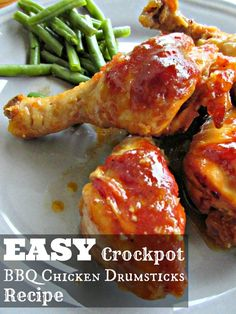 SavingSaidSimply.com - Easy Crockpot BBQ Chicken Drumsticks Recipe - 4 ingredients, under 5 minute prep time! #easy #recipe #crockpot