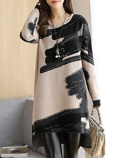 Casual Dress - Abstract Knitted Crew Neck Long Sleeve Casual Dress Source by candaceminuncen - Mode Outfits, Dress Outfits, Fashion Dresses, Dress Shoes, Fashion Mode, Fashion Trends, Fashion Fall, Latest Fashion, Fashion 2018