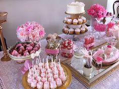 The Craft Whisperer  Bridal Shower Dessert Table  Pink, Ivory, Champagne, Gold theme