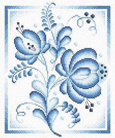 Blue Roses Kit in Cross Stitch