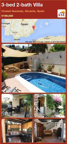 3-bed 2-bath Villa in Ciudad Quesada, Alicante, Spain ►€199,000 #PropertyForSaleInSpain