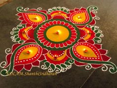 Square rangoli colours