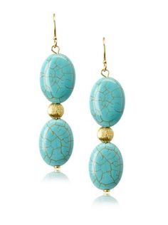 70% OFF Liv Oliver Turquoise Double Drop Earrings