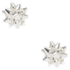 Silver Christmas Foil Bow Stud Earrings
