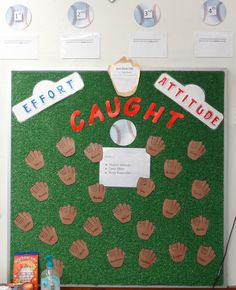 It's important to recognize positive behavior and encourage excellence in the classroom. Knepp, third grade teacher and sports extraordinaire, came up with this fantastic baseball themed. Baseball Bulletin Boards, Behavior Bulletin Boards, Teacher Bulletin Boards, Teacher Doors, Classroom Behavior, School Classroom, Behavior Board, Classroom Environment, Future Classroom