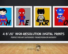 SALE 25% OFF Superhero Wall Art Superhero by KawaiiKidsDesign