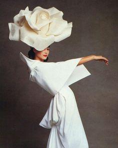 Christy Turlington, Vogue 1992. large manipulated headwear