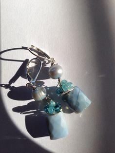 Blue pearl peruvian blue opal silver Earrings etsy by Lilyb444, $24.00