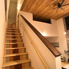 Wood Wallpaper, Wood Ceilings, Stairs, House, Home Decor, Staircases, Timber Wall Panels, Wood Beamed Ceilings, Stairway