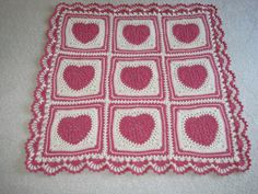 Crocheted Baby Blanket - Pink and White Lacy Hearts with Border for Valentines