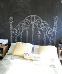Cute idea for a bed frame to draw it on the wall if you have a chalkboard wall