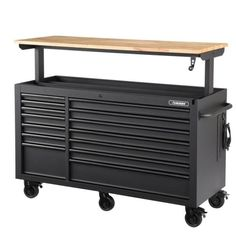 Husky Heavy-Duty 62 in. W 14-Drawer, Deep Tool Chest Mobile Workbench in Matte Black with Adjustable-Height Hardwood Top-HOLC6214BB1MYS - The Home Depot Garage Tools, Garage Workshop, Garage Ideas, Tool Storage Cabinets, Garage Cabinets, Garage Atelier, Mobile Workbench, Soft Close Drawer Slides, Cool Tools
