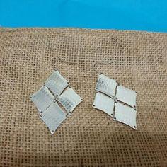 Diamond shaped textured dangling earrings Never worn diamond shaped textured dangling silver earrings Jewelry Earrings