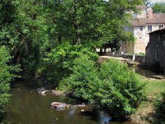 Saint-Jean-de-Côle: Côle river, trees along the water and houses - France-Voyage.com
