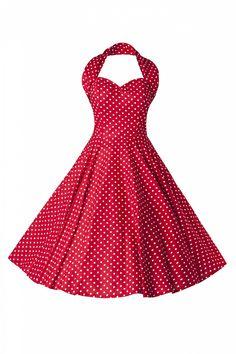 Vivien of Holloway - 50s Retro halter polka mini dot red white dress