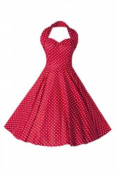 I want this Dress!!!!! Vivien of Holloway - 50s Retro halter polka mini dot red white dress  $160