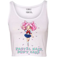 Pastel Hair Don't Care Chibi Sailor Moon Tank Crop Top ($16) ❤ liked on Polyvore featuring tops, sailor moon, shirts, tanks, pink, women's clothing, pink shirts, pastel shirts, unisex shirts and cropped tank tops