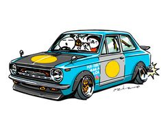 """""""crazy car art"""" jdm japanese old school """"KE10 COROLLA"""" original characters """"mame mame rock"""" / © ozizo Official web shop """"STAY CRAZY (in Society6)"""" Official web shop """"ozizo(in Redbubble)"""" """"Crazy Car Art"""" Line stickers """"Crazy car Art"""" Telegram stickers"""