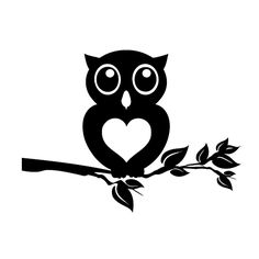 Owl Love Sitting on a Branch Decal-Owl Decal/Cute Animal/Fall/Tattoo/Bird/ Vinyl Decal Sticker for Y Window Decals, Car Decals, Vinyl Decals, Wall Stickers, Owl Silhouette, Silhouette Cameo Projects, Owl Stencil, Stencil Vinyl, Machine Silhouette Portrait