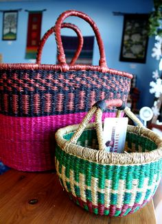 Elephant grass #baskets hand woven in #Ghana. Available at #Plowshare in #Waukesha and our stand at the Waukesha #FarmersMarket