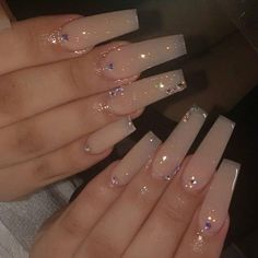 Acrylic Nails Coffin Pink, Long Square Acrylic Nails, Acrylic Nail Set, Cute Acrylic Nail Designs, White Acrylic Nails, White Nails, Nail Designs Bling, Diamond Nail Designs, Coffin Shape Nails