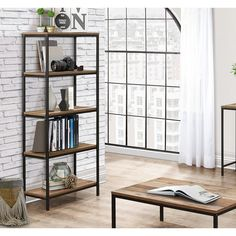 Amesbury 5 Tier Bookcase Cheap Furniture, Urban Furniture, Kids Furniture, Small Entryways, Living Spaces, Living Room, Industrial Chic, Particle Board
