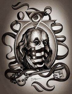 forefather by jeff saunders ben franklin w/ key tattoo artwork canvas art print skeleton-key tattooed president illuminati artwork
