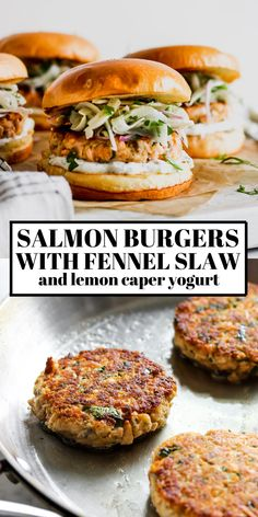 Salmon burgers with lemon-caper yogurt spread and crunchy fennel slaw. These healthy salmon burgers are easy to make and full of nutritious ingredients. Fennel Recipes, Avocado Recipes, Burger Recipes, Salmon Recipes, Fish Recipes, Seafood Recipes, Cooking Recipes, Recipies, Baked Fish