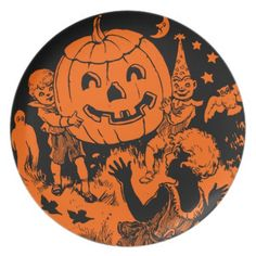 Vintage Halloween Plate http://www.zazzle.com/vintage_halloween_plate-115355286907764249?rf=238312613581490875