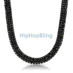 Black on black bling bling 3 row chain will give you the look and shine of a hip hop starlike Kanye West or Jay Z.  Black hip hop jewelry has been popular since 2009 and continues to shine.  Get yours today at HipHopBling