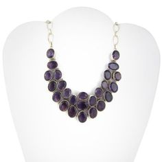 Amethyst Gemstone Sterling Silver Chain Necklace for Women 16.5 Inches: Jewelry: Amazon.com