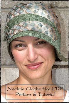 PDF Sewing Pattern and Tutorial for Necktie Cloche Hat for Women Instant Download