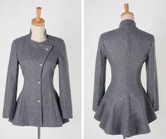 Fashion  Long long tails-Trench Coats   Trench Coats_BT (Gray)