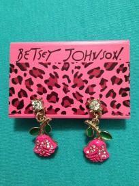 Betsey Johnson Hot Pink Rose dangle Earrings