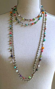 Gypsy Boho crochet wrap bracelet Bohemian crochet by 3DivasStudio 35 inches with loop closure