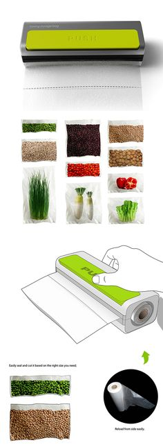 """Whether it's long carrots or tiny peas, this design makes it possible to customize your bag size with one easy and simple operation. Simply dispense the bag from the compact unit, stop at the length suitable for your food type, and press the """"push"""" button to seal the bag. Voila! You've got a bespoke bag that you can take to-go or save for later!"""