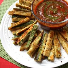"""Spicy Zucchini """"Fries"""" with Marinara Dip - Get Off Your Tush and Cook!"""