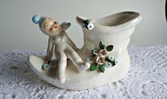 Vintage 50s Iridescent Pixie Boot Planter by treasurecoveally on Etsy