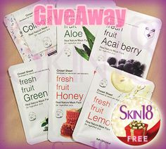 Skin18 International Giveaway x6pcs Mirum Fresh Fruit Real Natural Mask Pack - Free Facial Masks, Many Entries, Free Shipping Worldwide!! http://skin18.com/pages/giveawaye