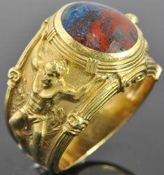 He loves this one - 18K Yellow Gold Pietersite Solitaire Atlas Greek Myth Roman God Cigar Ring Heavy | eBay