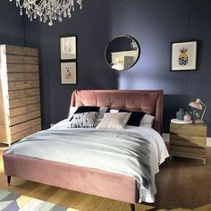 Make Monday morning a little brighter with the Raul bed frame in blush pink Blush Bedroom Decor, Blush Pink Bedroom, Bedding Master Bedroom, Pink Bedrooms, Pink Bedding, Bedroom Green, Master Bedroom Design, Bedroom Colors, Dream Bedroom