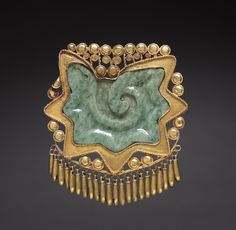 Pectoral Ornament c. 1200-1519 Mexico, Guerrero, Ichcatiopan,, Mixtec or Aztec style gold, jadeite, Overall - h:8.00 w:7.20 cm (h:3 1/8 w:2 13/16 inches). Gift of James C. Gruener in memory of his wife, Florence Crowell Gruener | Cleveland Museum of Art