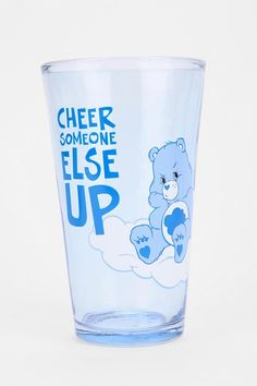 Set of 4 Care Bear pint glasses with sweet little messages on them. #urbanoutfitters
