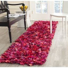 Safavieh Handmade Decorative Rio Shag Fuchsia/ Purple Runner (2'3 x 6') (SG951F-26), Pink, Size 2'3 x 6' (Polyester, Abstract)