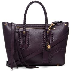 Alexander McQueen Folk Small Shopper in Aubergine ❤ liked on Polyvore