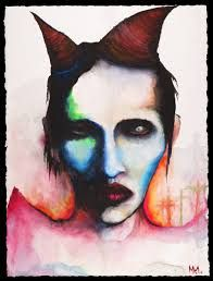 manson. artist as artwork. watercolor and ink