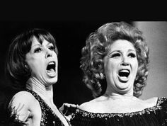 """March 9, 1976. Carol and opera star Beverly Sills belt out a number at the New York's Metropolitan opera house during rehearsal for the CBS special """"Sills and Burnett at the Met."""""""