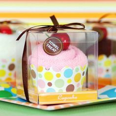 Cupcake Towel Favor by Beau-coup. Also in vanilla (white towel).