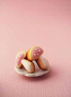 Pink Toadstool Mushroom Frosted Sugar Cookies Polymer Clay Earrings Studs // Dessert Food Jewelry on Etsy, $11.54 AUD